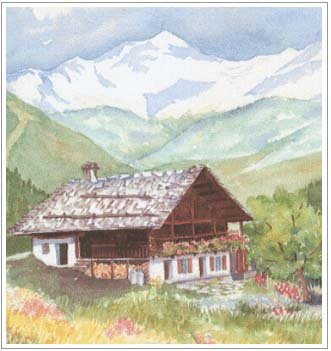 ( Chalet traditionnel dans le Beaufortain - aquarelle )