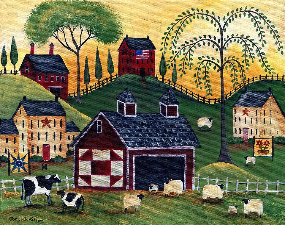 Sunrise Red Quilt Barn Sheep Cows