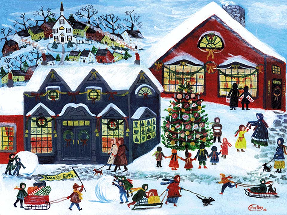Peace on Earth Red Barn Christmas Holiday Shopping