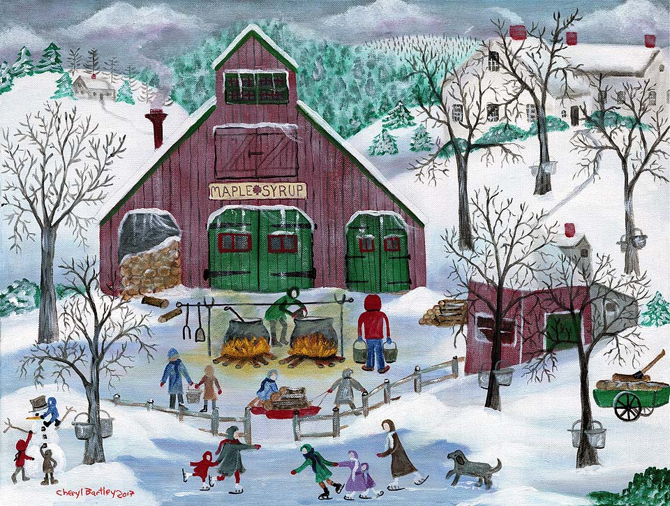 Snowy Maple Syrup Maker and Ice Skaters Winter Wonderland