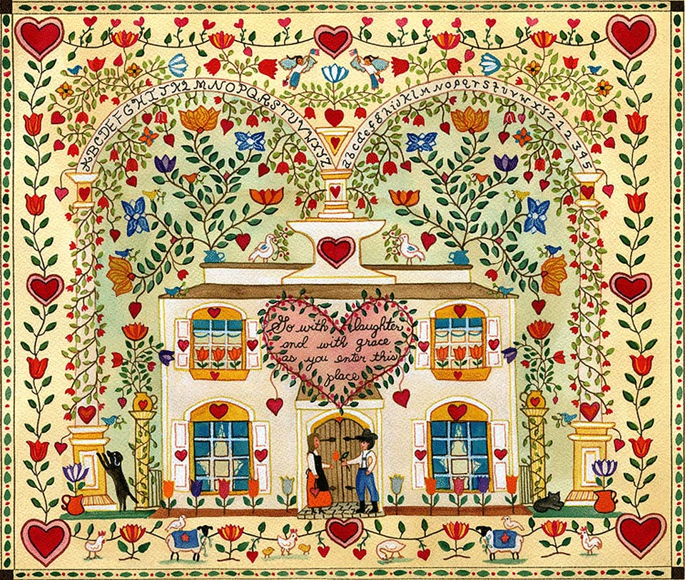 Tulips and Hearts Sampler