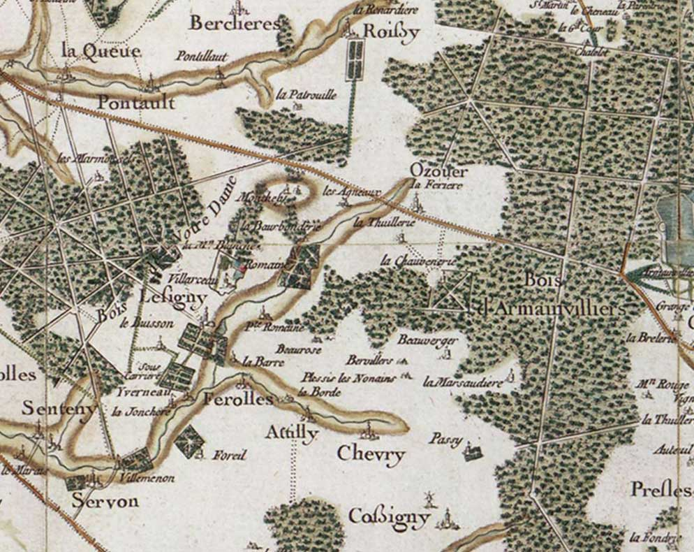 Romaine (en 1750) - carte de Cassini