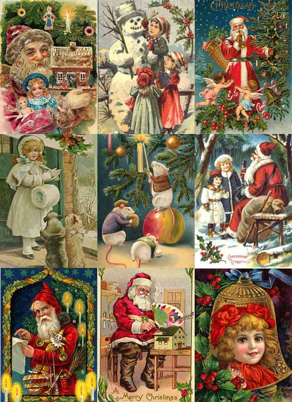vintage christmas collage